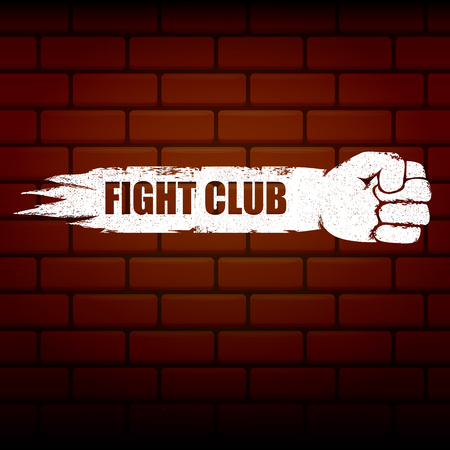 fight club vector logo with grunge black man fist isolated on brick wall background. MMA Mixed martial arts concept design template. Fighting club label for print on tee Çizim