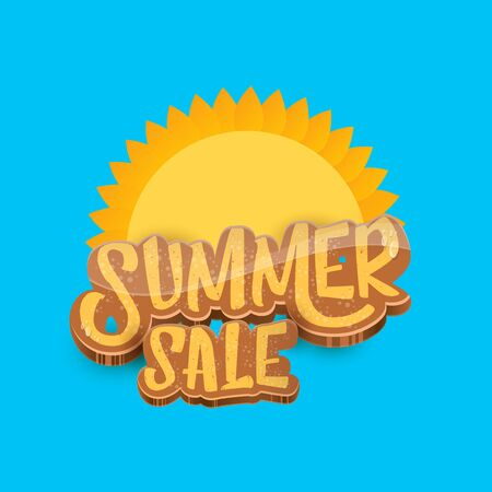 vector summer sale label or tag on blue sky background with sun. Summer sale poster or banner design template.  イラスト・ベクター素材