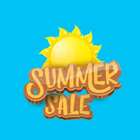 vector summer sale label or tag on blue sky background with sun. Summer sale poster or banner design template. Imagens - 124823601