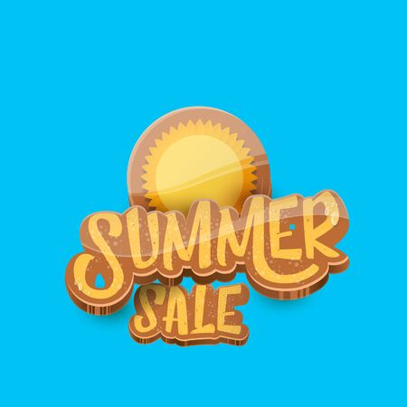 vector summer sale label or tag on blue sky background with sun. Summer sale poster or banner design template. Imagens - 124823602