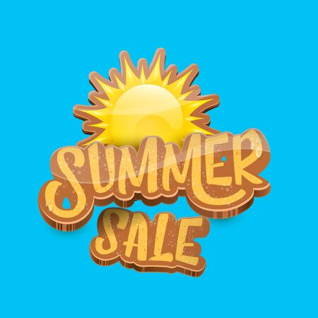 vector summer sale label or tag on blue sky background with sun. Summer sale poster or banner design template. Imagens - 124823605