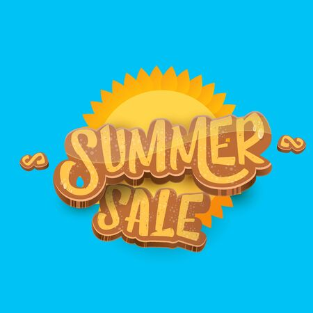 vector summer sale label or tag on blue sky background with sun. Summer sale poster or banner design template. Ilustrace