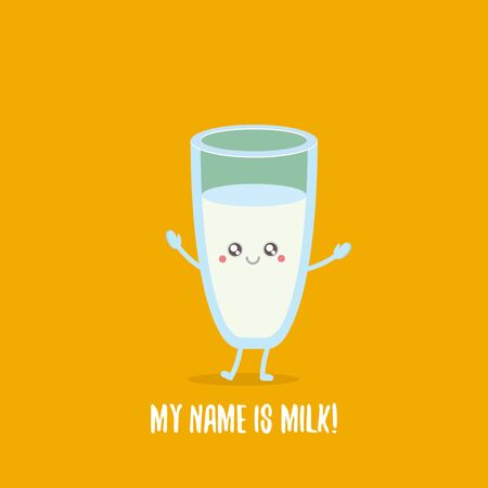 funny cartoon cute smiling milk glass character isolated on orange background. Kids food flat funky character