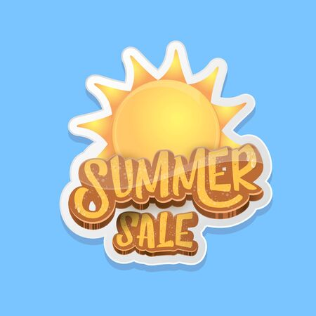 summer sale label or tag isolated on blue background. Pink Summer sale discount poster, sticker, banner or flyer design template.
