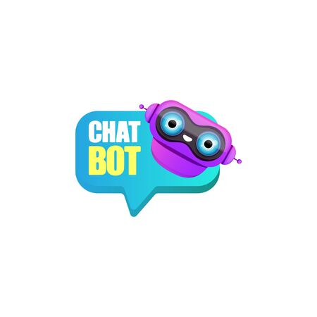 cute chatbot character or intelligent assistant with speech bubble isolated on white background. Vector Funny robot assistant, chatter bot, helper chatbot logo or label Illustration