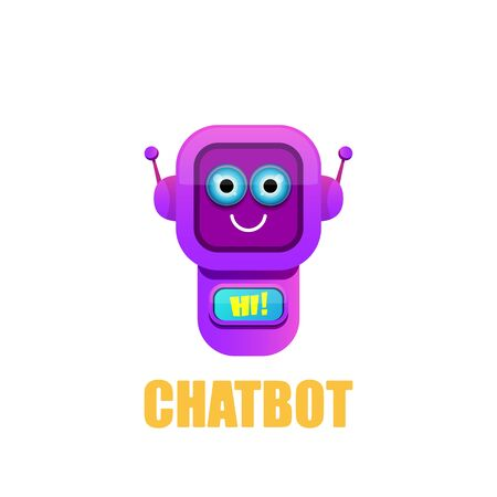 cute chatbot character isolated on white background. Vector Funny robot assistant, chatter bot, helper chatbot logo or label
