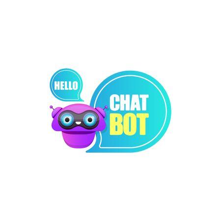 simpatico personaggio chatbot o assistente intelligente con nuvoletta isolato su sfondo bianco. Vettore Divertente assistente robot, chatter bot, logo o etichetta helper chatbot Logo