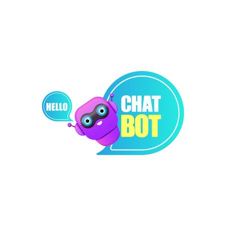 cute chatbot character or intelligent assistant with speech bubble isolated on white background. Vector Funny robot assistant, chatter bot, helper chatbot logo or label Vettoriali