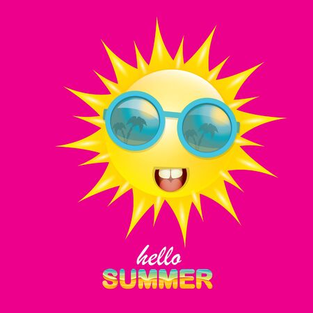 Vektor-Hallo-Sommer-kreatives Etikett mit lächelnder, glänzender Sonne auf rosafarbenem Hintergrund. Sommerparty-Hintergrund mit funky Sonnenzeichen-Design-Vorlage. Vektor-Sommer-Symbol