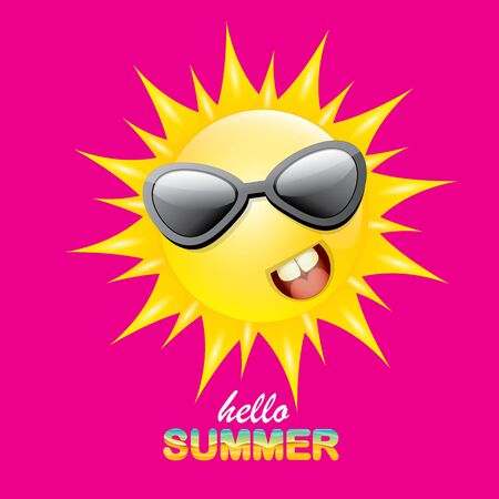 vector Hallo zomer creatief label met lachende glanzende zon geïsoleerd op roze achtergrond. zomer partij achtergrond met funky zon karakter ontwerpsjabloon. vector zomer icoon