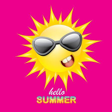 vector Hola verano etiqueta creativa con sonriente sol brillante aislado sobre fondo rosa. Fondo de fiesta de verano con plantilla de diseño de personajes de sol funky. vector icono de verano