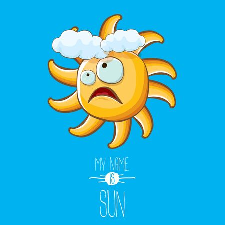 vector funky cartoon style summer sun character on blue sky background. My name is sun concept illustration. funky kids summer character with eyes and mouth Imagens - 124823678