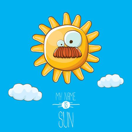 vector funky cartoon style summer sun character on blue sky background. My name is sun concept illustration. funky kids summer character with eyes and mouth Stockfoto - 124823682