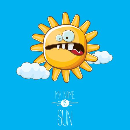vector funky cartoon style summer sun character on blue sky background. My name is sun concept illustration. funky kids summer character with eyes and mouth Imagens - 124823683