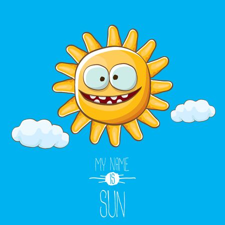 vector funky cartoon style summer sun character on blue sky background. My name is sun concept illustration. funky kids summer character with eyes and mouth Stockfoto - 124823688
