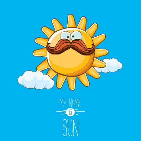 vector funky cartoon style summer sun character on blue sky background. My name is sun concept illustration. funky kids summer character with eyes and mouth Imagens - 124823703