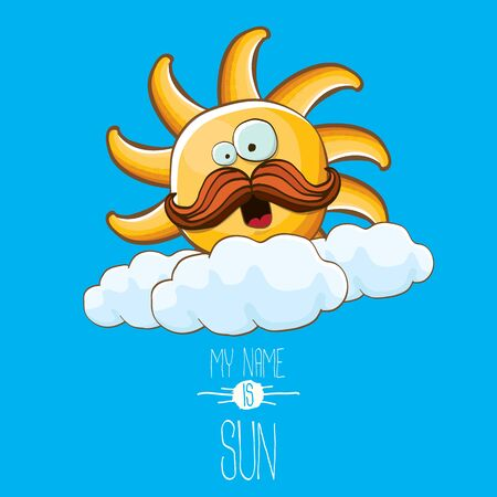 vector funky cartoon style summer sun character on blue sky background. My name is sun concept illustration. funky kids summer character with eyes and mouth