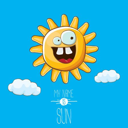 vector funky cartoon style summer sun character on blue sky background. My name is sun concept illustration. funky kids summer character with eyes and mouth Stockfoto - 124823710