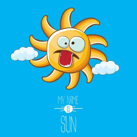 vector funky cartoon style summer sun character on blue sky background. My name is sun concept illustration. funky kids summer character with eyes and mouth Imagens - 124823711