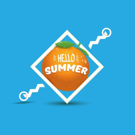 Vector Hello Summer label or flyer Design template with fresh orange fruit isolated on blue background. Hello summer concept label or poster with fruit and letternig text Imagens - 124823713