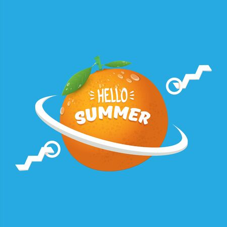 Vector Hello Summer label or flyer Design template with fresh orange fruit isolated on blue background. Hello summer concept label or poster with fruit and letternig text Imagens - 124823763