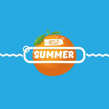 Vector Hello Summer label or flyer Design template with fresh orange fruit isolated on blue background. Hello summer concept label or poster with fruit and letternig text  イラスト・ベクター素材