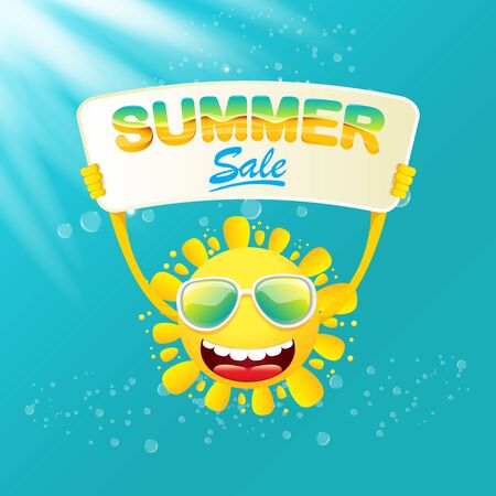 vector summer happy sun holding sale offer sign