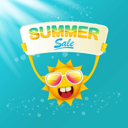 vector summer happy sun holding sale offer sign Stockfoto - 124823774
