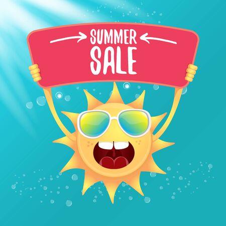 vector summer happy sun holding sale offer sign Stockfoto - 124823883