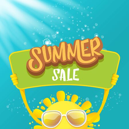 vector summer happy sun holding sale offer sign Stockfoto - 124823884