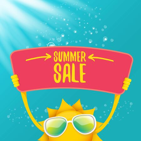 vector summer happy sun holding sale offer sign Stockfoto - 124823885