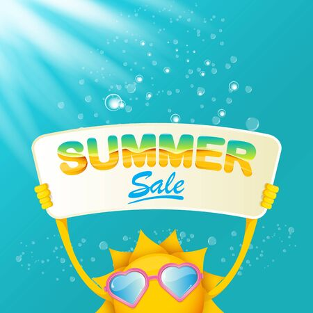 vector summer happy sun holding sale offer sign Stockfoto - 124823887