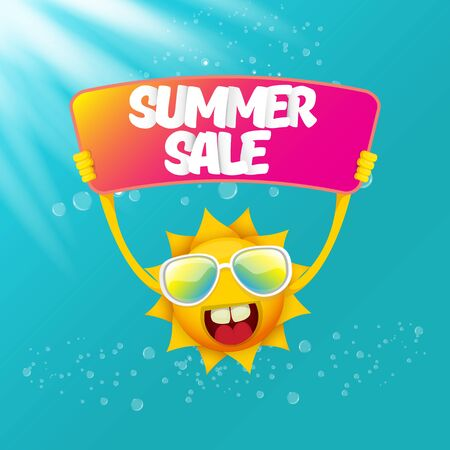 vector summer happy sun holding sale offer sign Stockfoto - 124823890