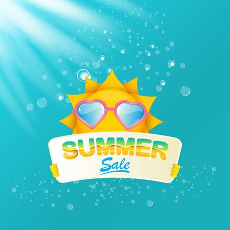 vector summer happy sun holding sale offer sign Stockfoto - 124823894
