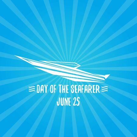 Day of the seafarer 25 june. Vector slhouette of yach or boat Ilustração