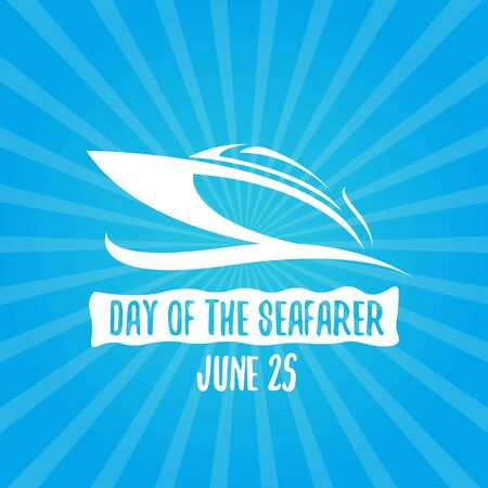 Day of the seafarer 25 june. Vector slhouette of boat