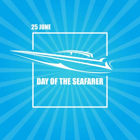 Day of the seafarer 25 june. Vector slhouette of yach or boat Illustration
