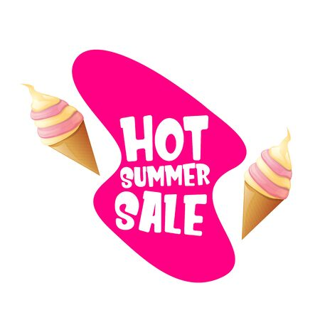 hot summer sale label or tag with melting ice cream. Vector hot summer sale pink banner or icon. Reklamní fotografie - 124824194