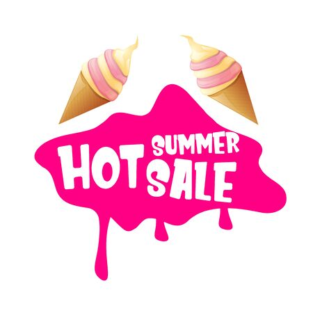 hot summer sale label or tag with melting ice cream. Vector hot summer sale pink banner or icon. Ilustrace