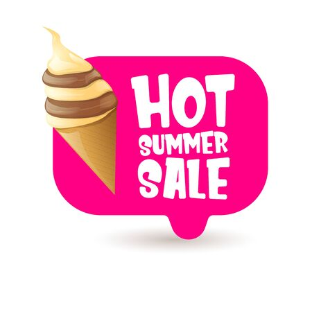 hot summer sale label or tag with melting ice cream. Vector hot summer sale pink banner or icon. Reklamní fotografie - 124824195