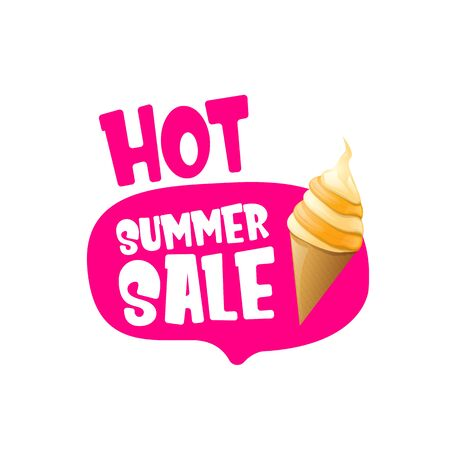 hot summer sale label or tag with melting ice cream. Vector hot summer sale pink banner or icon. Reklamní fotografie - 124824197