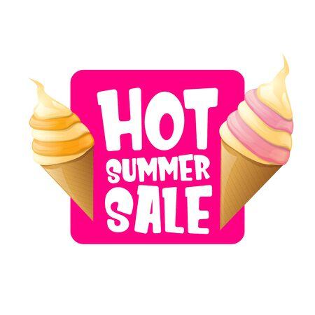 heißer Sommerverkaufsaufkleber oder -tag mit schmelzender Eiscreme. Vektor heißen Sommer Sale rosa Banner oder Symbol. Vektorgrafik