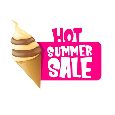 hot summer sale label or tag with melting ice cream. Vector hot summer sale pink banner or icon. Reklamní fotografie - 124824199