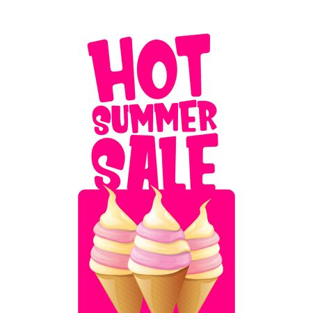 hot summer sale label or tag with melting ice cream. Vector hot summer sale pink banner or icon. Reklamní fotografie - 124824200