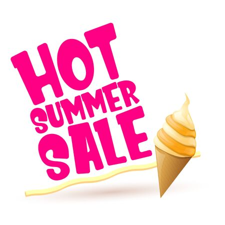 hot summer sale label or tag with melting ice cream. Vector hot summer sale pink banner or icon. Reklamní fotografie - 124824201