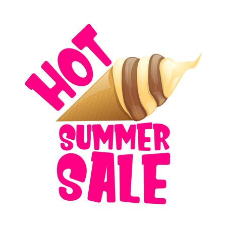 hot summer sale label or tag with melting ice cream. Vector hot summer sale pink banner or icon. Reklamní fotografie - 124824202