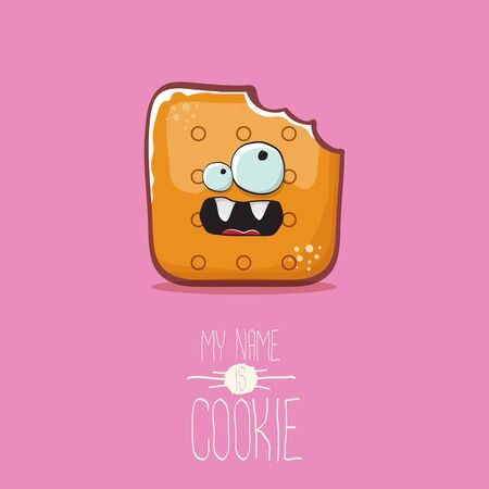 vector funny cookie character isolated on pink background. My name is cookie concept illustration. funky food character or bakery label mascot
