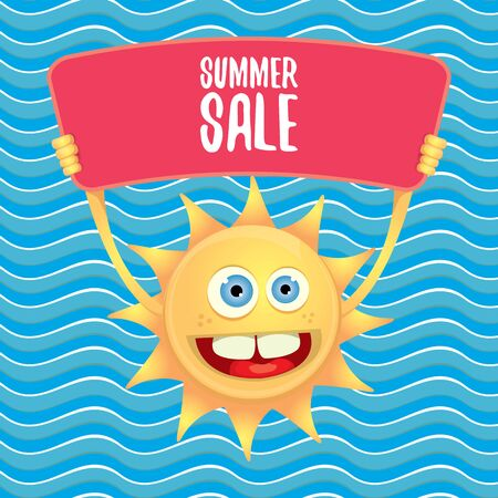 summer sale vector poster or web banner. summer happy sun character holding sign or banner with special offer sale text on blue wave background