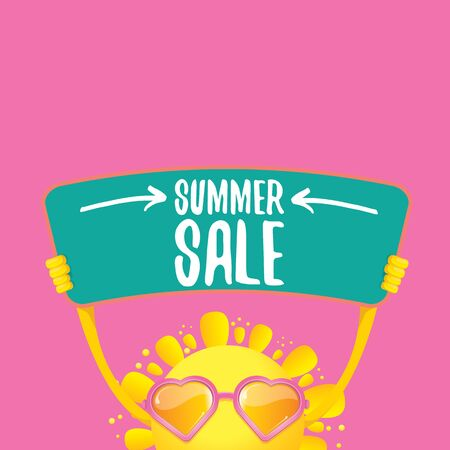 summer sale vector poster or web banner. summer happy sun character holding sign or banner with special offer sale text on pink background