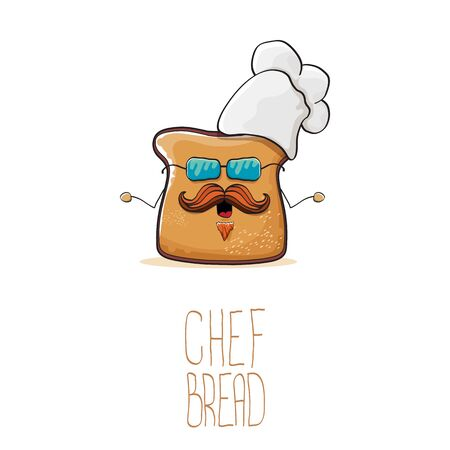 vector funky cartoon cute bread chef character with white chef hat isolated on white background. My name is bread concept illustration. Bakery funky or mascot design template